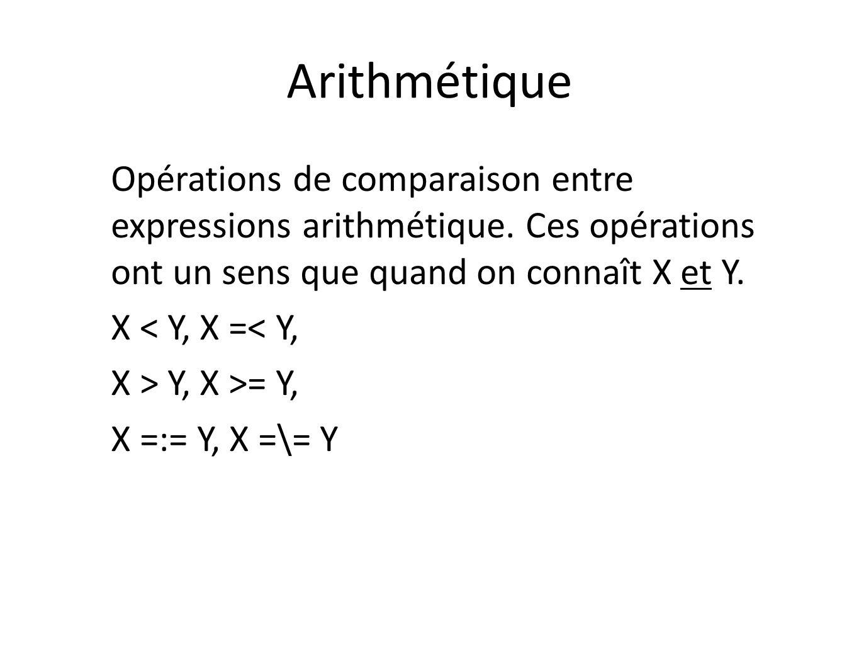 Arithmétique Opérations de comparaison entre expressions arithmétique. Ces opérations ont un sens que quand on connaît X et Y.