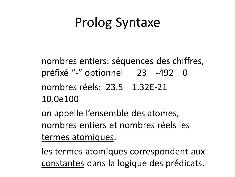 Prolog Syntaxe nombres entiers: séquences des chiffres, préfixé - optionnel 23 -492 0.