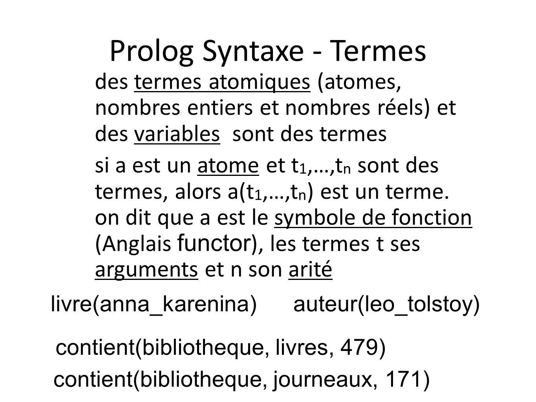 Prolog Syntaxe - Termes