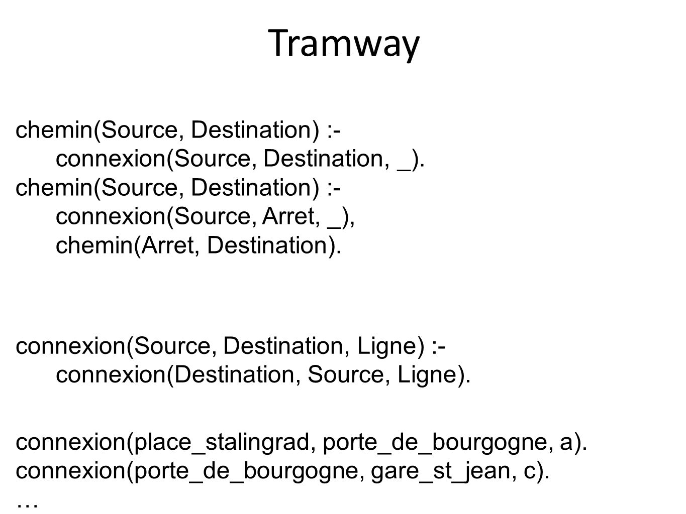 Tramway chemin(Source, Destination) :-