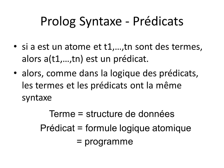 Prolog Syntaxe - Prédicats