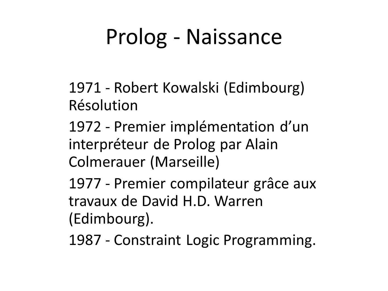 Prolog - Naissance 1971 - Robert Kowalski (Edimbourg) Résolution