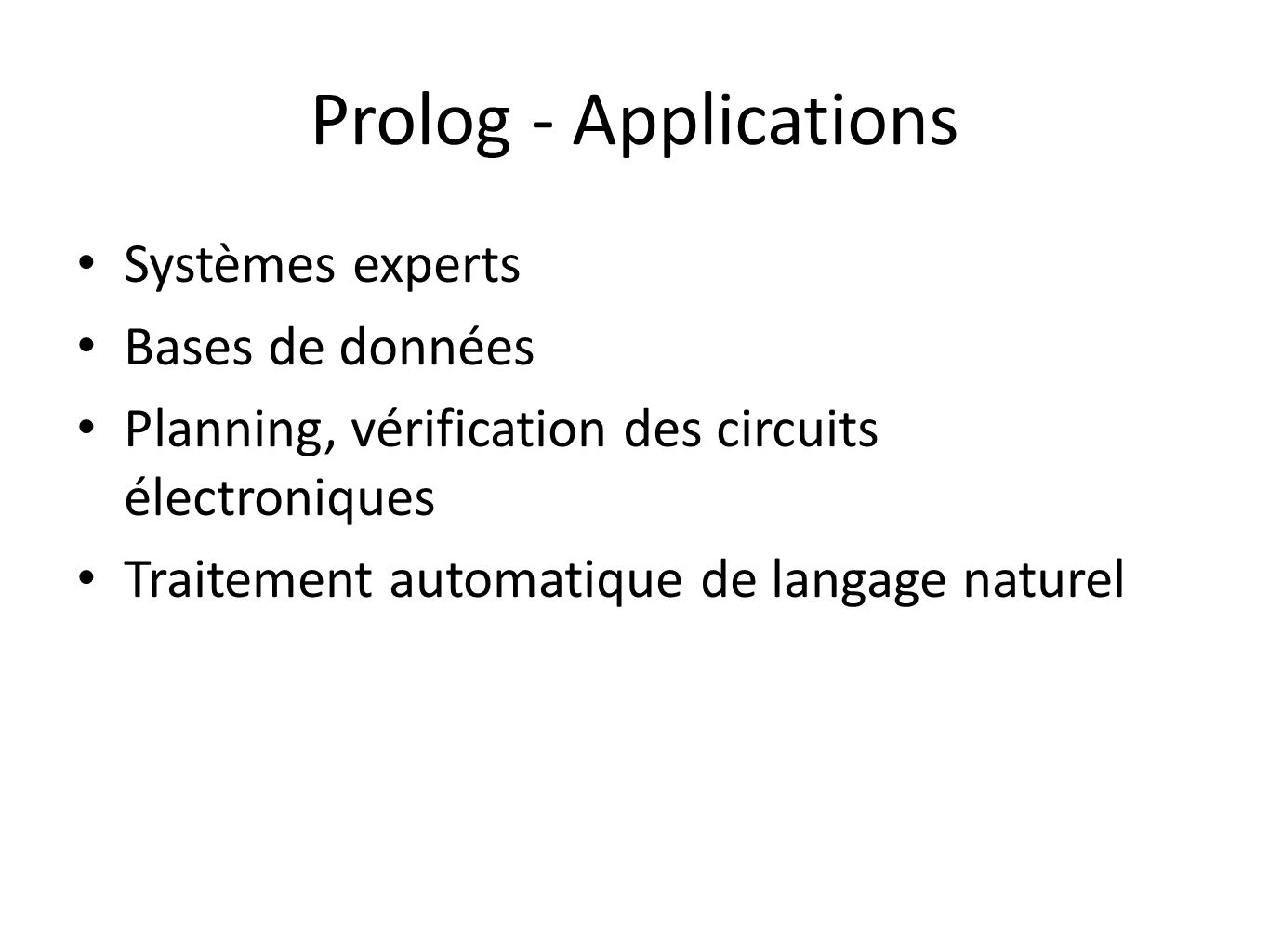 Prolog - Applications Systèmes experts Bases de données
