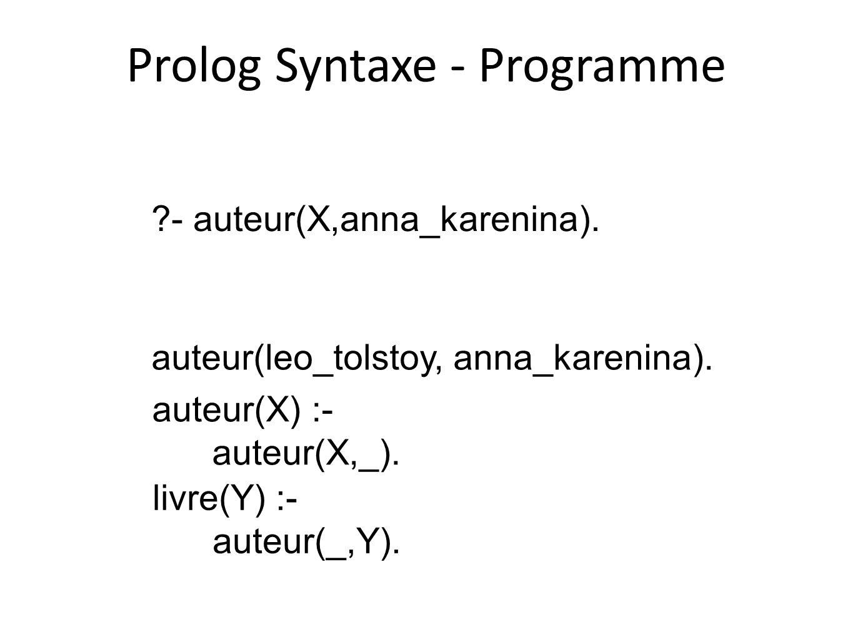 Prolog Syntaxe - Programme
