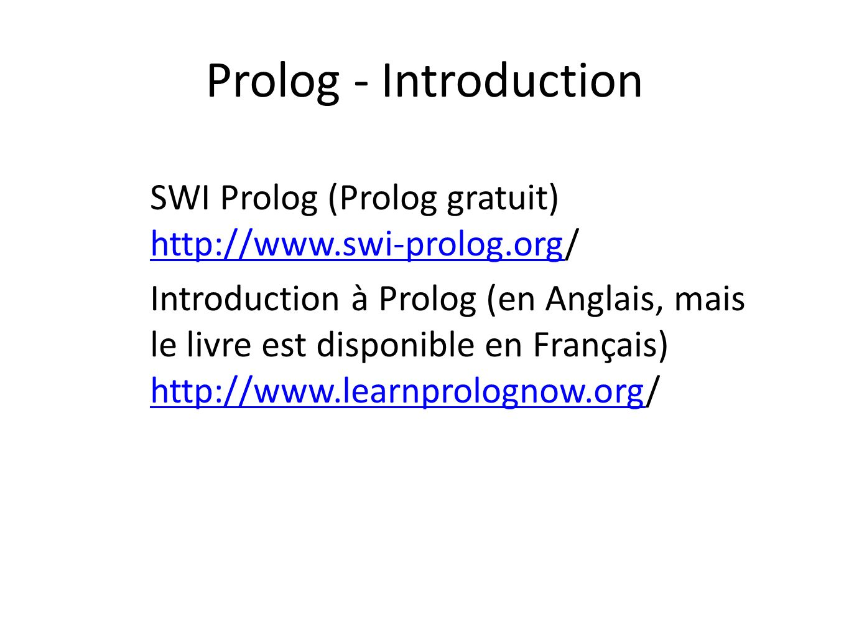 Prolog - Introduction SWI Prolog (Prolog gratuit) http://www.swi-prolog.org/