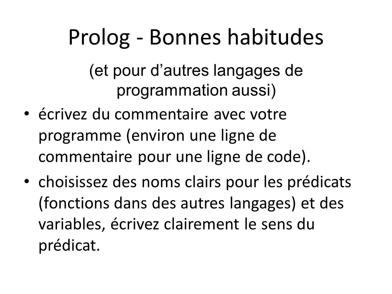 Prolog - Bonnes habitudes