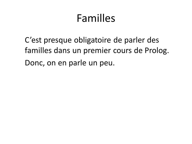 Familles C'est presque obligatoire de parler des familles dans un premier cours de Prolog.