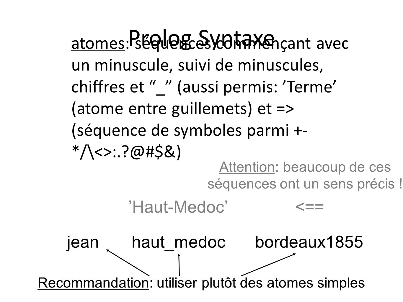 Prolog Syntaxe