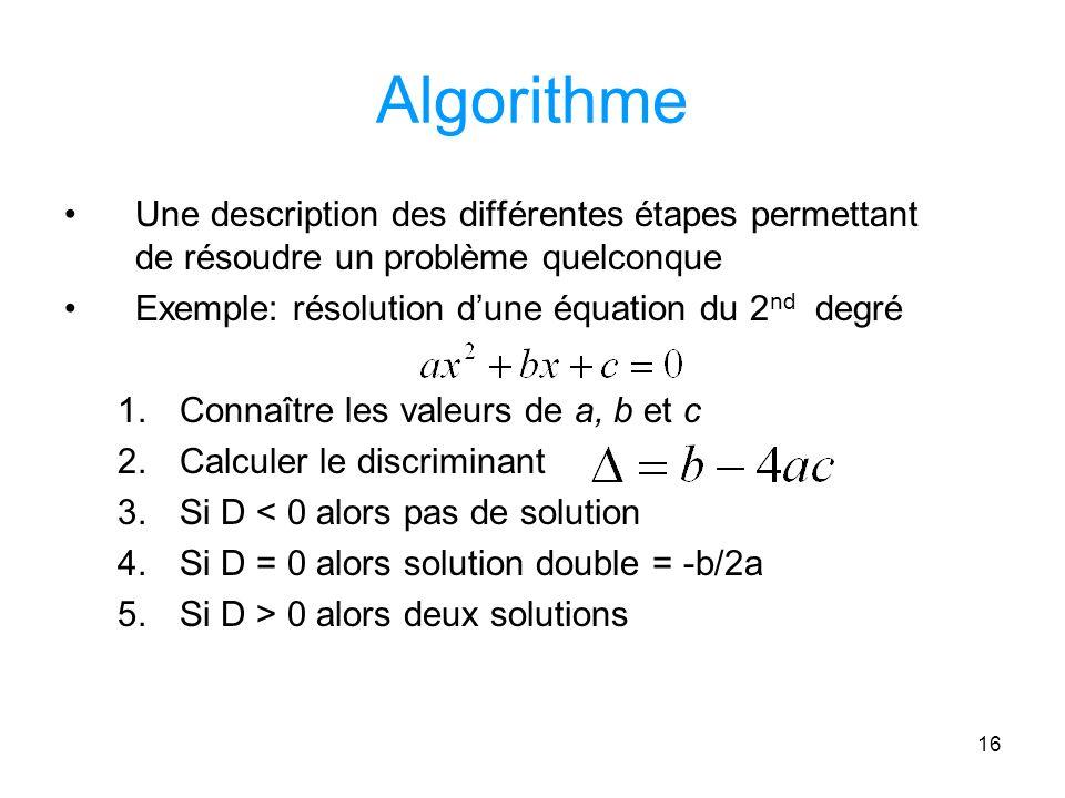 Algorithme Une description des différentes étapes permettant de résoudre un problème quelconque. Exemple: résolution d'une équation du 2nd degré.