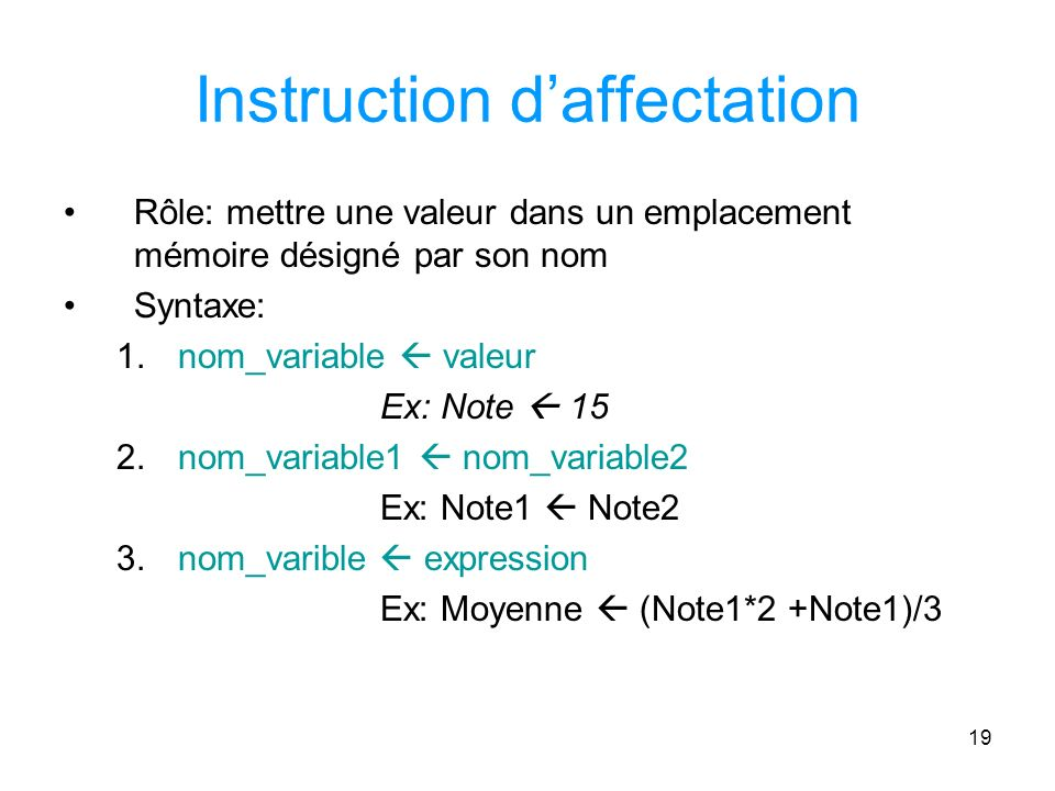 Instruction d'affectation