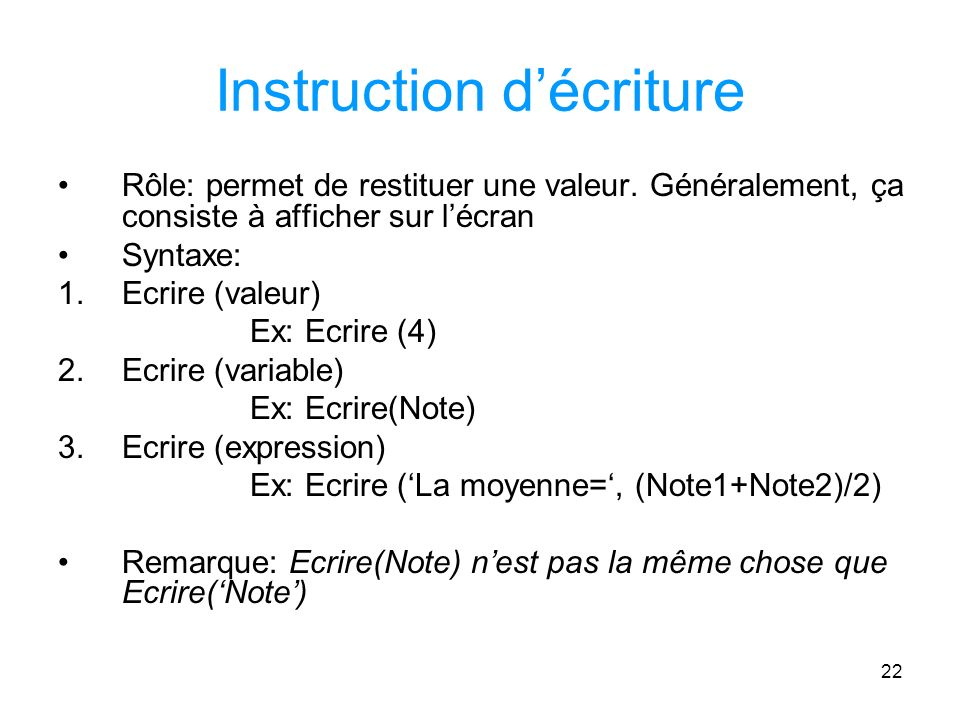 Instruction d'écriture
