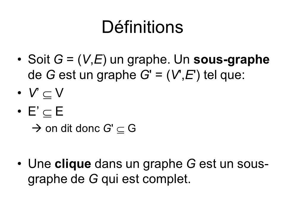 Définitions Soit G = (V,E) un graphe. Un sous-graphe de G est un graphe G = (V ,E ) tel que: V'  V.