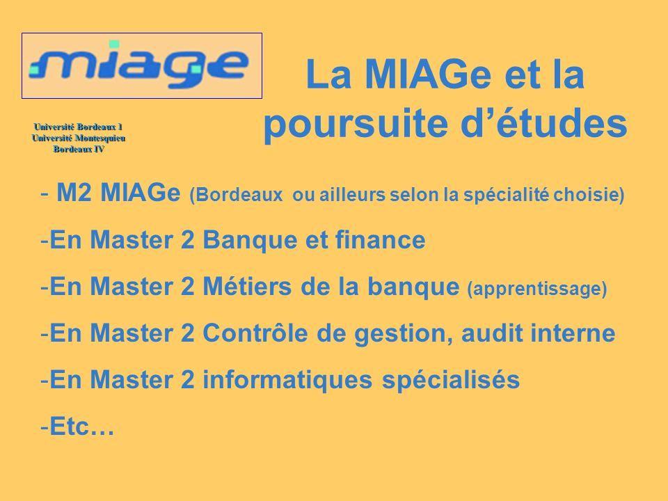 La MIAGe et la poursuite d'études