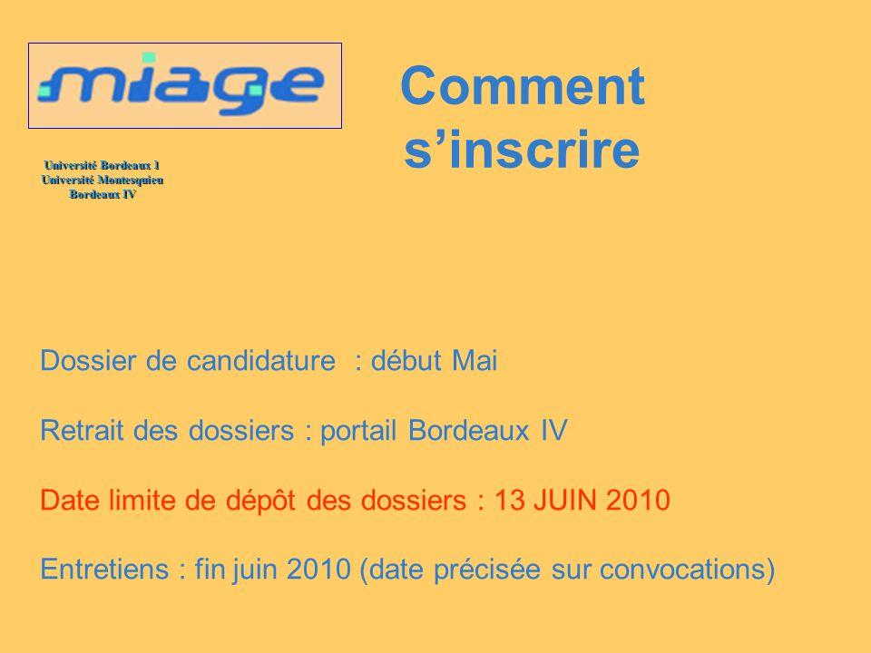 Comment s'inscrire Dossier de candidature : début Mai