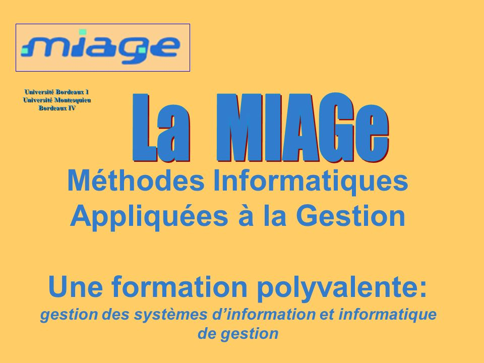 La MIAGe Méthodes Informatiques Appliquées à la Gestion Une formation polyvalente: gestion des systèmes d'information et informatique de gestion.