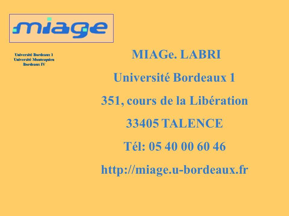 MIAGe. LABRI Université Bordeaux 1. 351, cours de la Libération. 33405 TALENCE. Tél: 05 40 00 60 46.