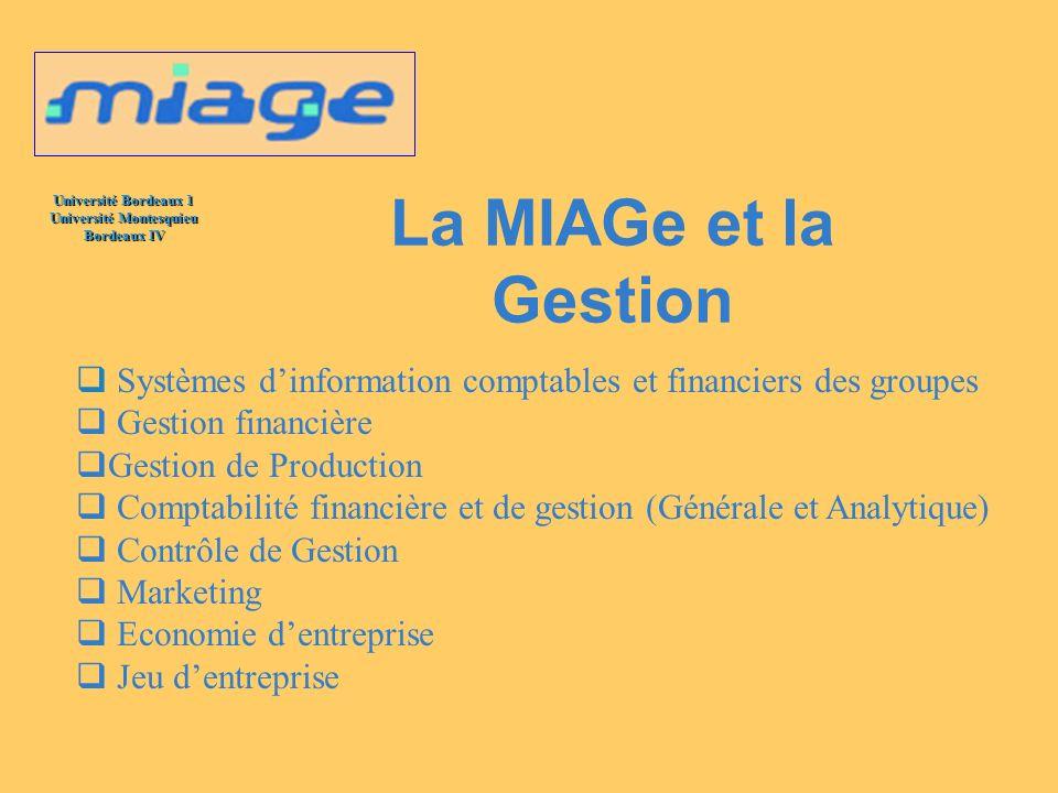 La MIAGe et la Gestion Systèmes d'information comptables et financiers des groupes. Gestion financière.
