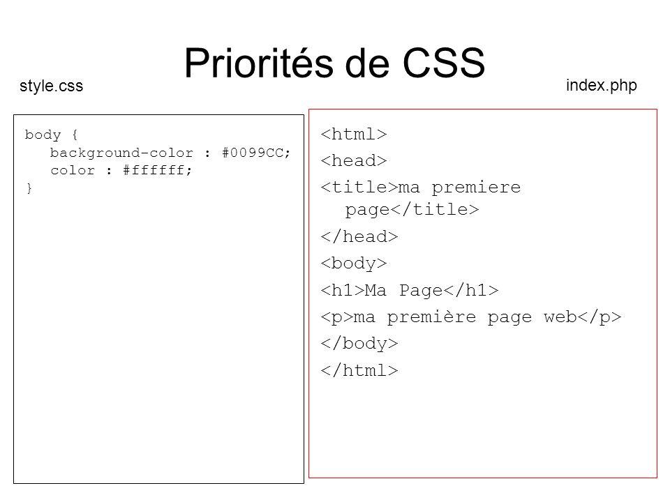 Priorités de CSS <html> <head>