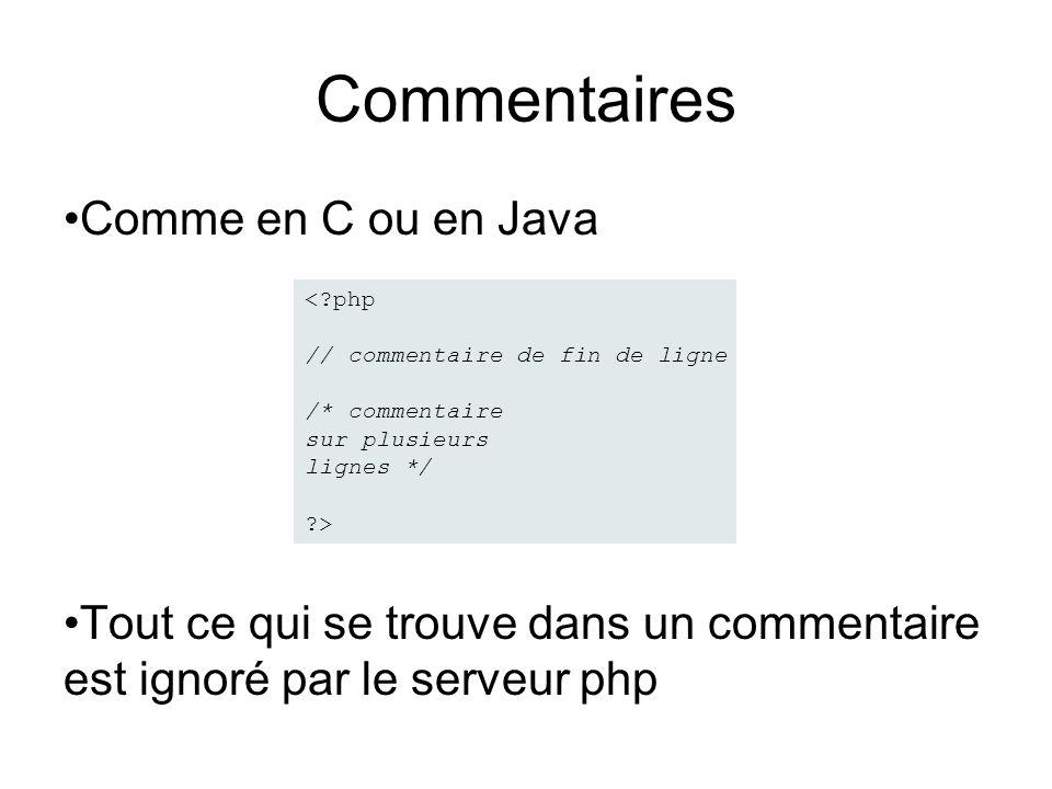 Commentaires Comme en C ou en Java