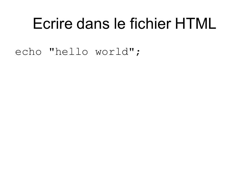Ecrire dans le fichier HTML