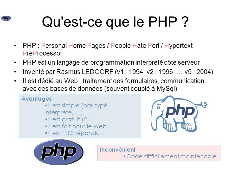 Qu est-ce que le PHP PHP : Personal Home Pages / People Hate Perl / Hypertext PreProcessor.