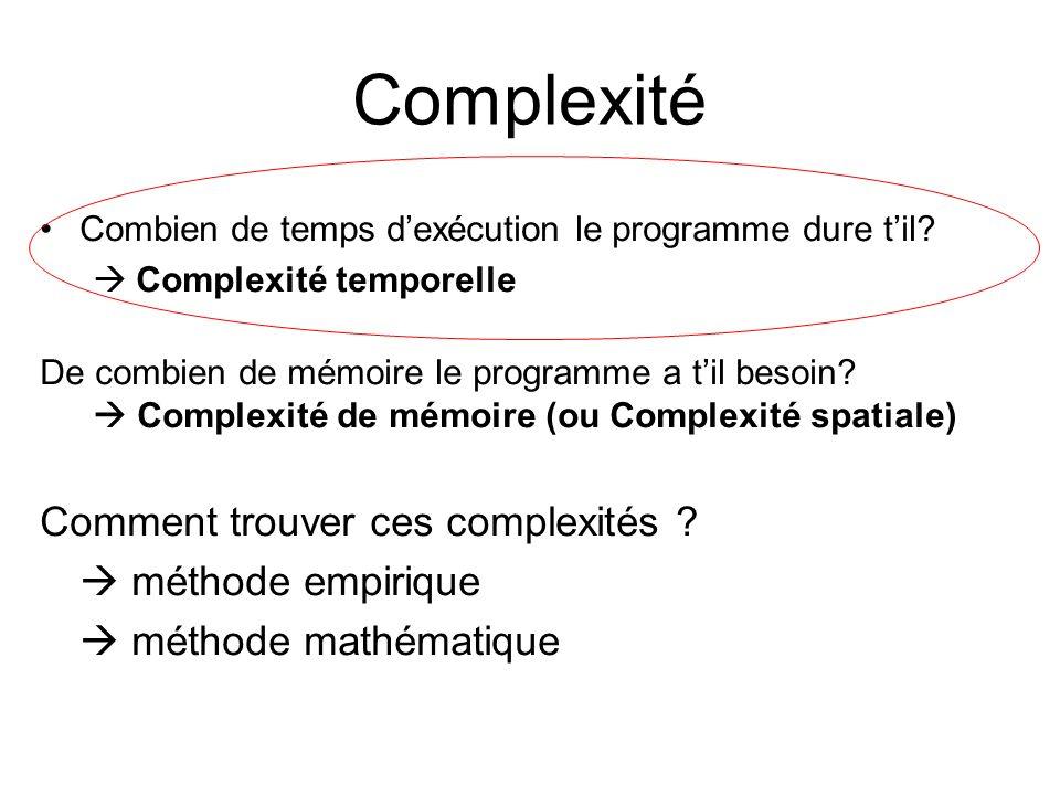 Complexité Comment trouver ces complexités  méthode empirique