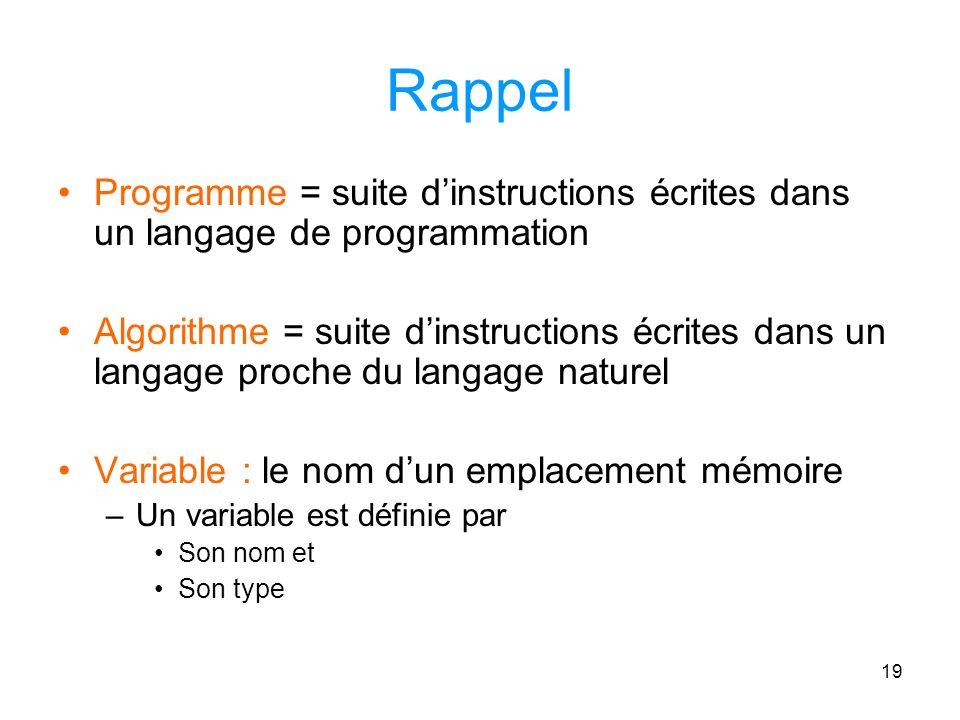 Rappel Programme = suite d'instructions écrites dans un langage de programmation.