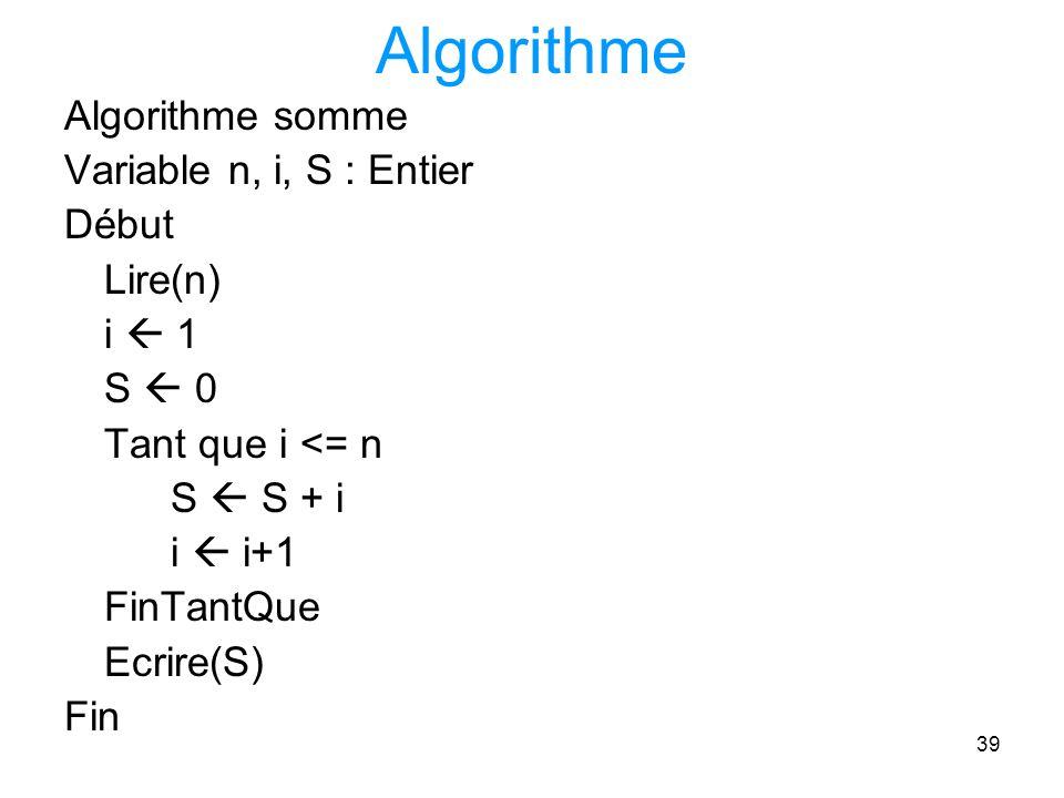 Algorithme Algorithme somme Variable n, i, S : Entier Début Lire(n)