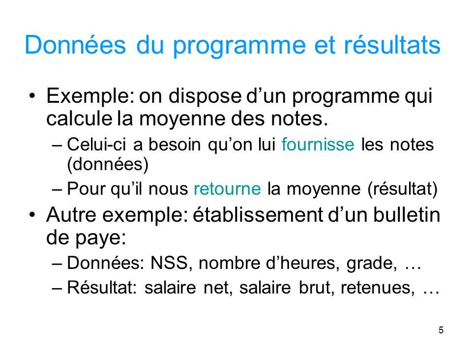 Données du programme et résultats
