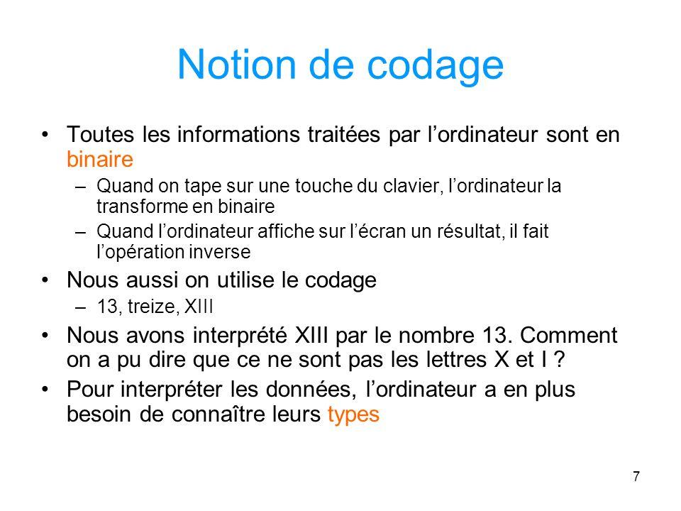 Notion de codage Toutes les informations traitées par l'ordinateur sont en binaire.