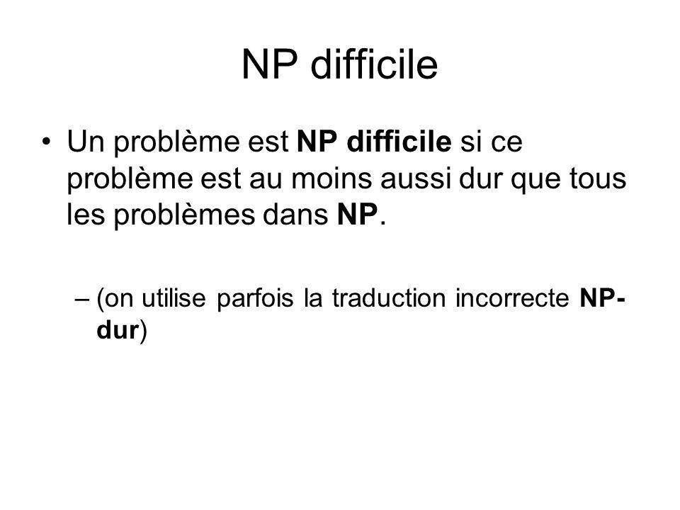 NP difficile Un problème est NP difficile si ce problème est au moins aussi dur que tous les problèmes dans NP.