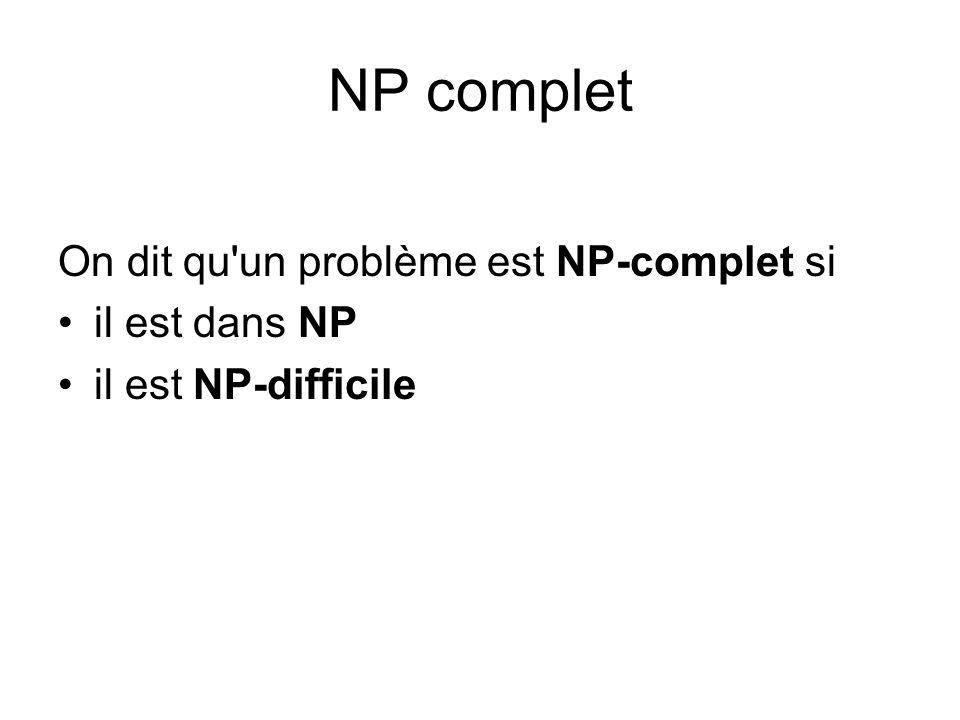 NP complet On dit qu un problème est NP-complet si il est dans NP