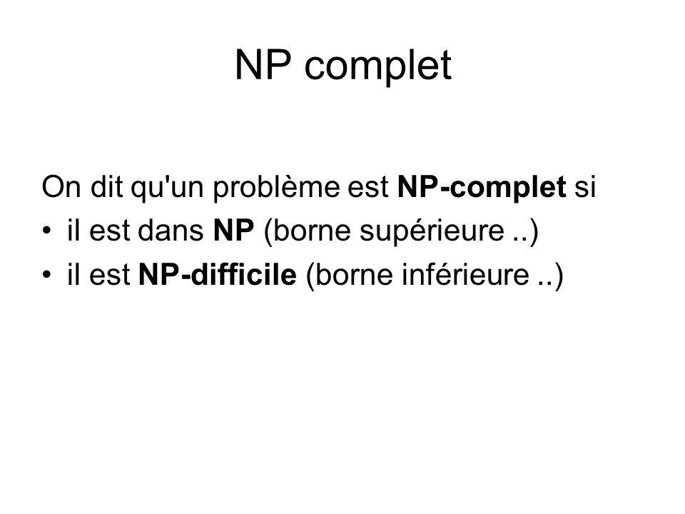 NP complet On dit qu un problème est NP-complet si
