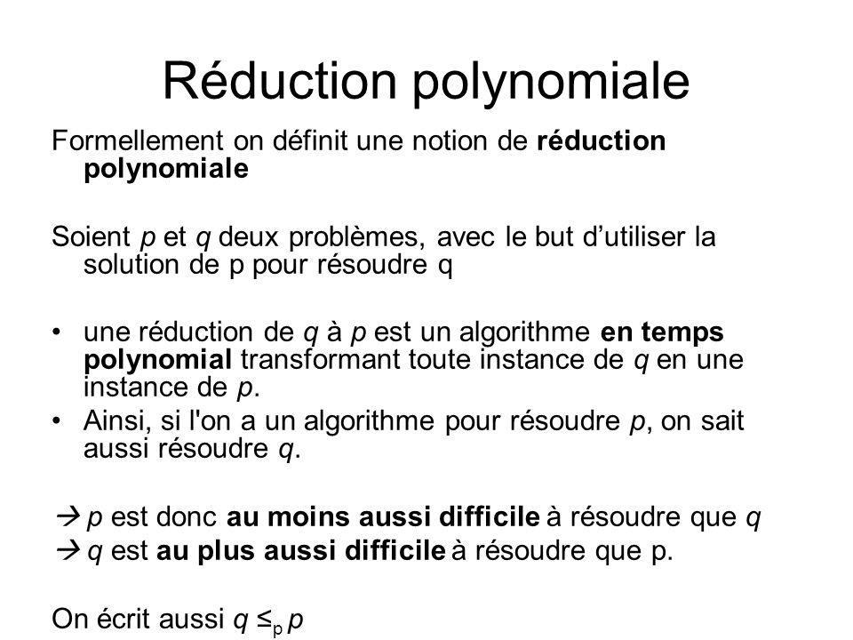 Réduction polynomiale