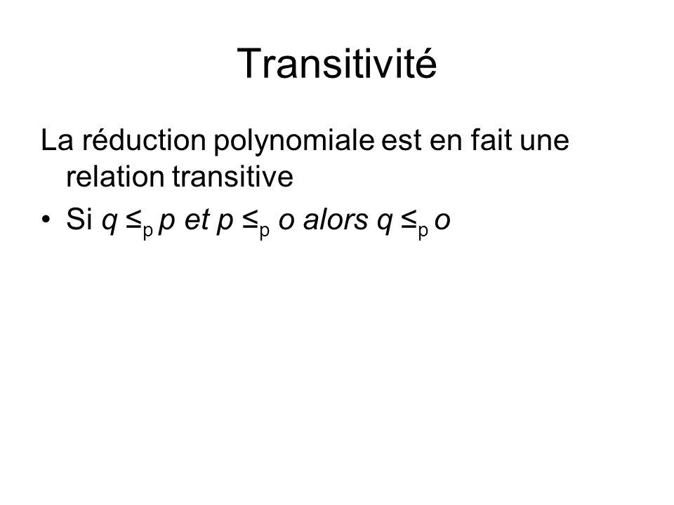 Transitivité La réduction polynomiale est en fait une relation transitive.