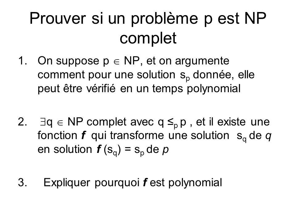 Prouver si un problème p est NP complet
