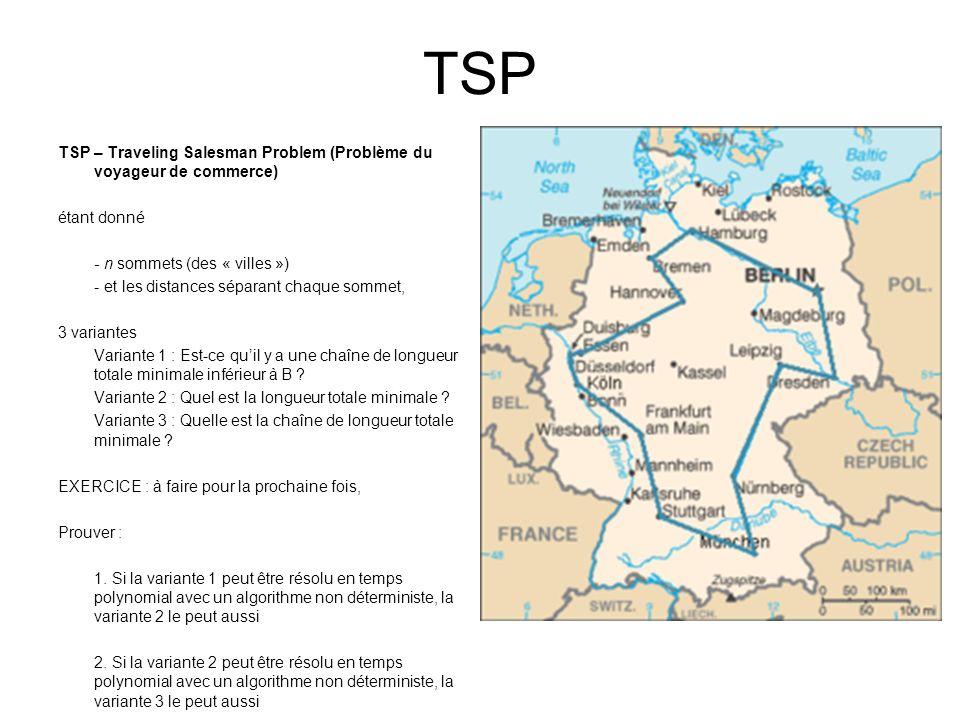 TSP TSP – Traveling Salesman Problem (Problème du voyageur de commerce) étant donné. - n sommets (des « villes »)