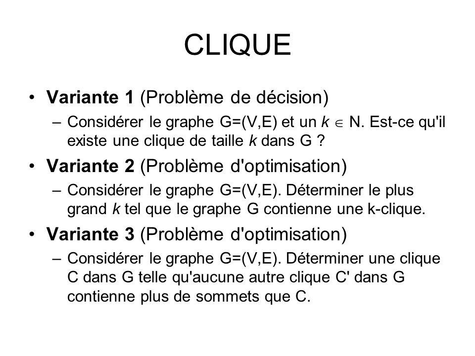 CLIQUE Variante 1 (Problème de décision)
