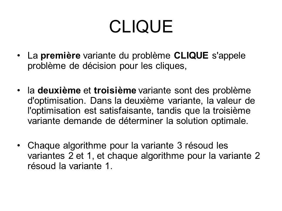 CLIQUE La première variante du problème CLIQUE s appele problème de décision pour les cliques,