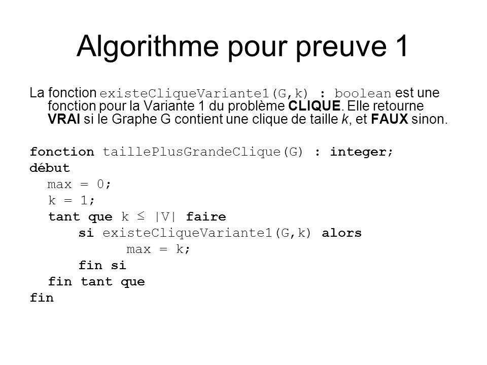 Algorithme pour preuve 1