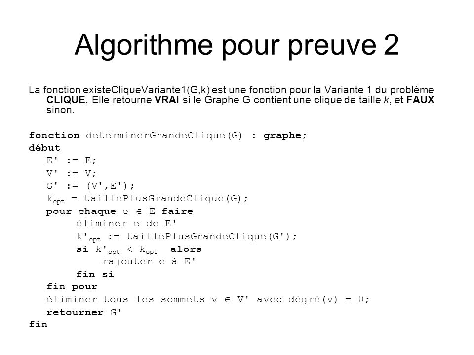 Algorithme pour preuve 2