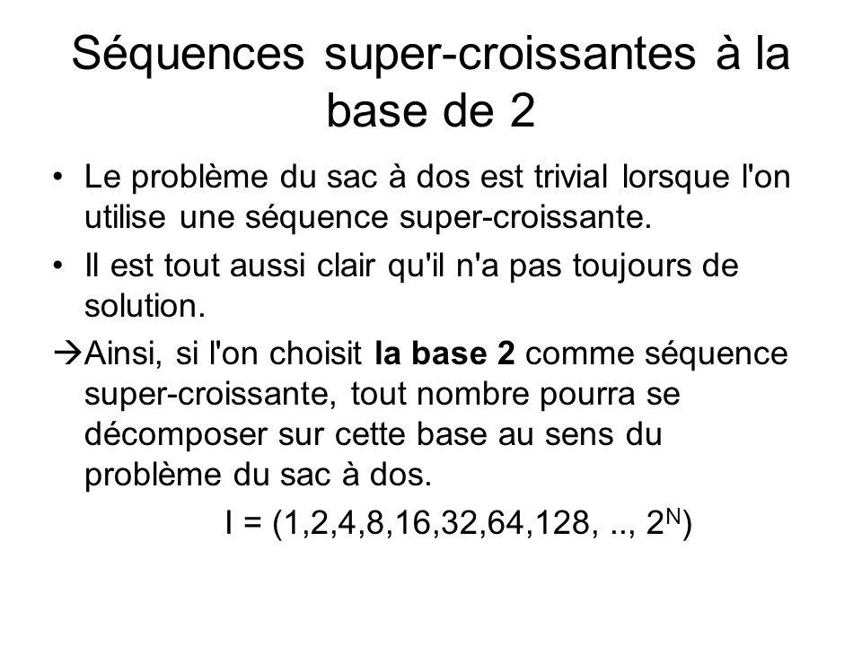 Séquences super-croissantes à la base de 2