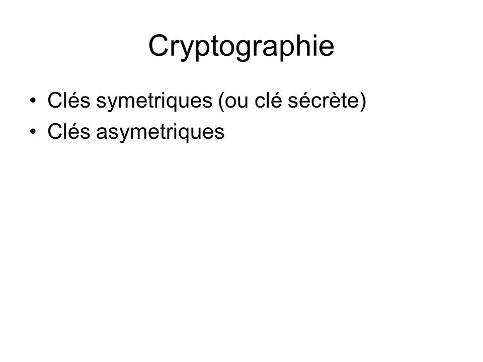 Cryptographie Clés symetriques (ou clé sécrète) Clés asymetriques