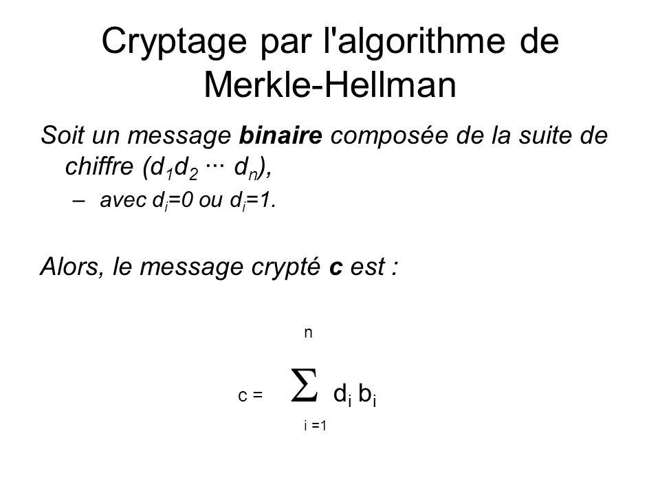 Cryptage par l algorithme de Merkle-Hellman
