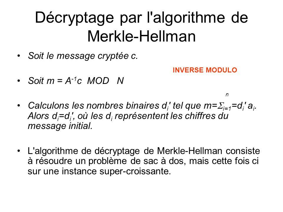 Décryptage par l algorithme de Merkle-Hellman