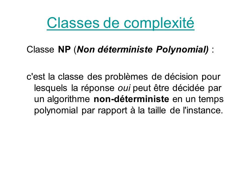 Classes de complexité Classe NP (Non déterministe Polynomial) :