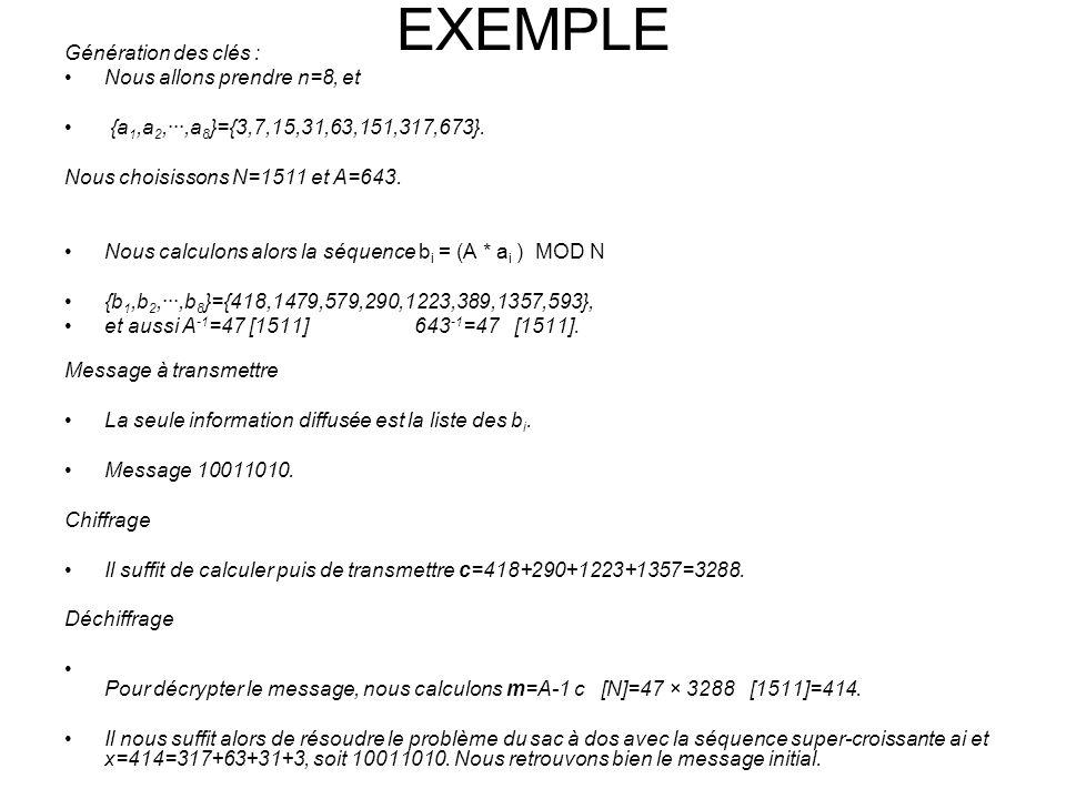 EXEMPLE Génération des clés : Nous allons prendre n=8, et