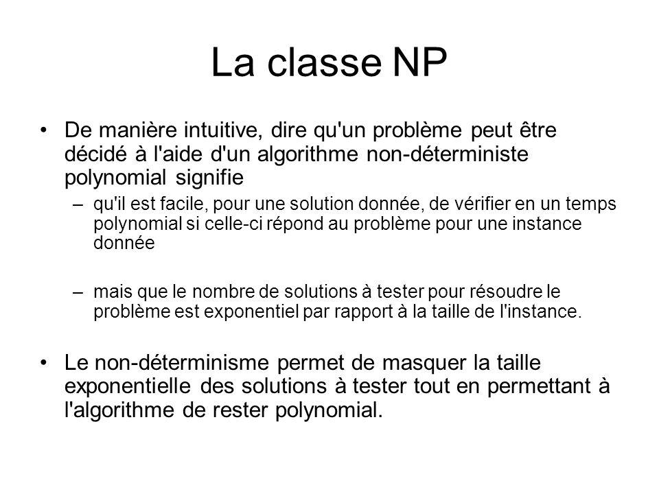 La classe NP De manière intuitive, dire qu un problème peut être décidé à l aide d un algorithme non-déterministe polynomial signifie.