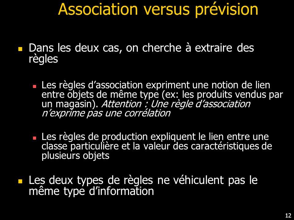 Association versus prévision