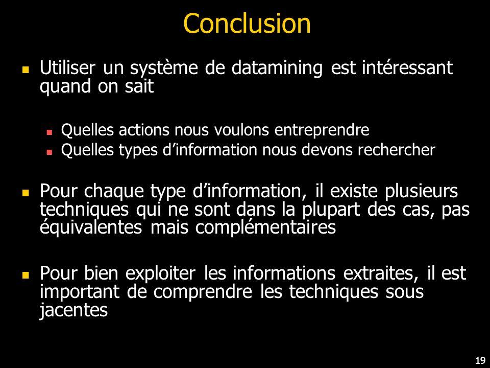 Conclusion Utiliser un système de datamining est intéressant quand on sait. Quelles actions nous voulons entreprendre.